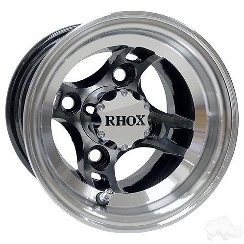 RHOX Brickyard, Machined w/Black w/ Center Cap, 8x7 ET-27