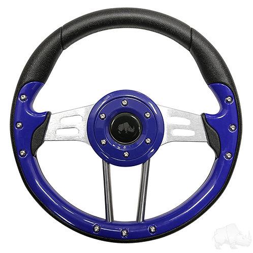 """RHOX Steering Wheel, Aviator 4 Blue Grip/Brushed Aluminum Spokes 13"""" Diameter"""