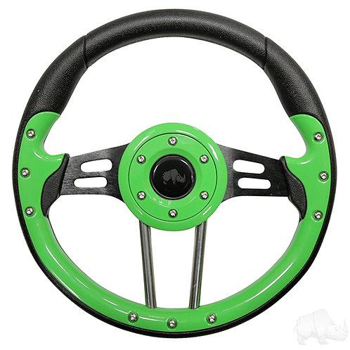 """RHOX Steering Wheel, Aviator 4 Lime Green Grip/Black Spokes 13"""""""