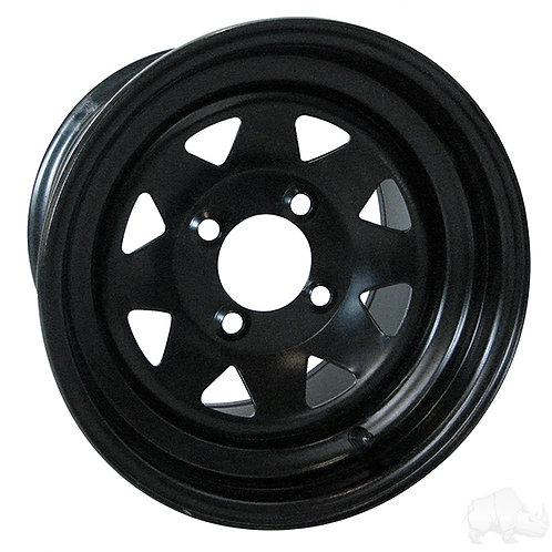 Steel, Black, 12x7.5, 3:4.5 Offset