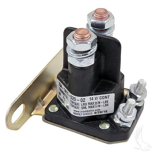 Solenoid, 14V 4 Terminal Silver, EZGo Med/TXT Gas