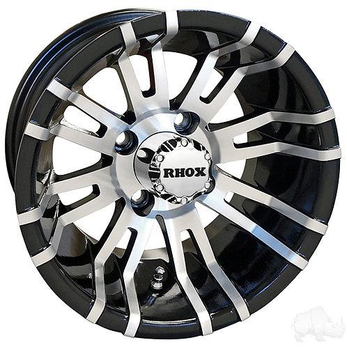 RHOX RX270, Machined w/ Black w/ Center Cap, 12x7 ET-25