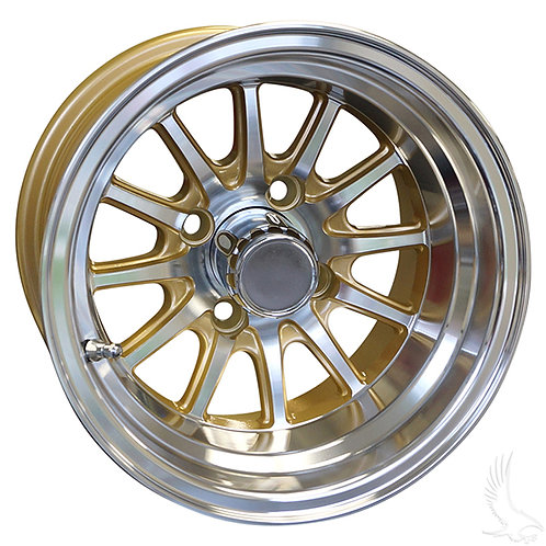 Phoenix, Machined w/ Gold w/ Center Cap, 12x7 ET-25