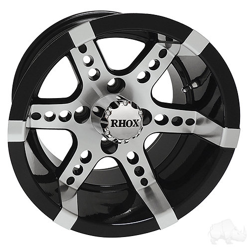 RHOX RX260, Machined w/ Black w/ Center Cap, 14x7 ET-25