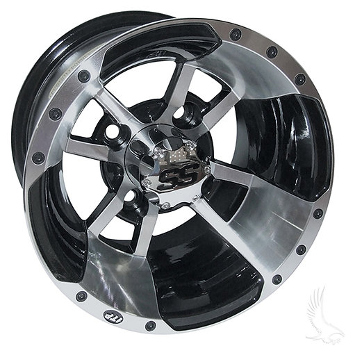ITP SS112, Machined w/Black, w/ chrome center cap, 10x7