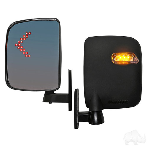 Mirror, Deluxe LED Side, Set of 2, Running/Turn Signal Lights 12-48V, 3 Wire