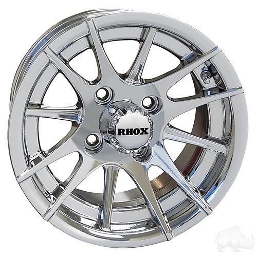 RX107, 12 Spoke, Chrome w/ Center Cap, 12x6 Centered