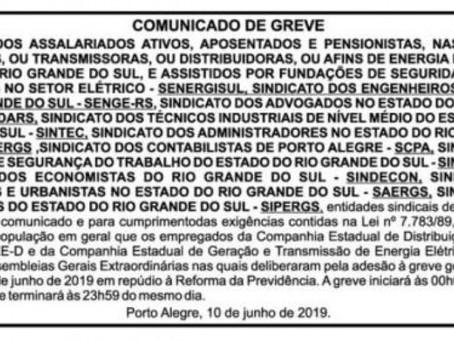 COMUNICADO DE GREVE