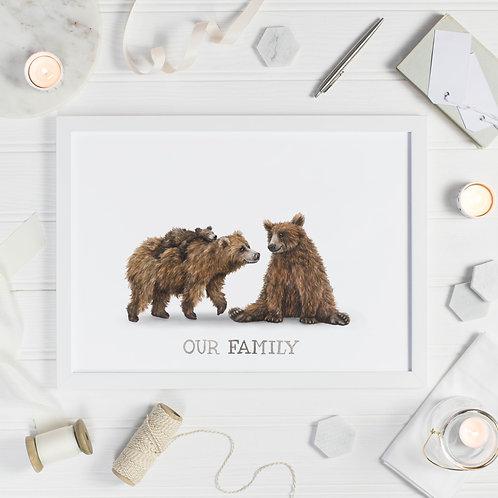 Bear Family Print - One Cub