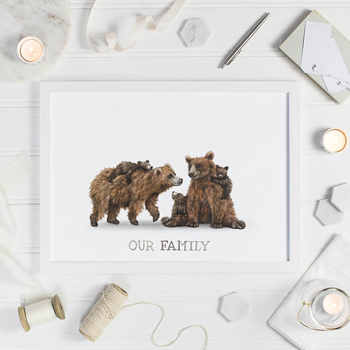 Bear Family Print - Three Cubs