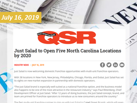 Just Salad to Open Five North Carolina Locations by 2020