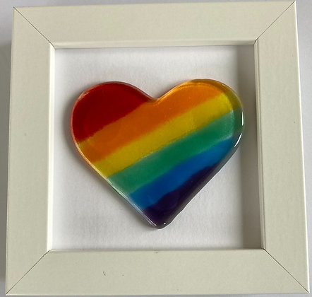 Framed Glass Rainbow Heart