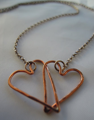Copper Interlinking Hearts - Necklace