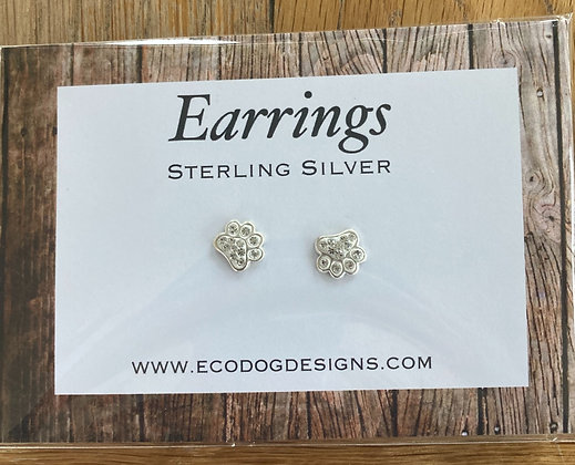 Sparkling Paw Print Earring