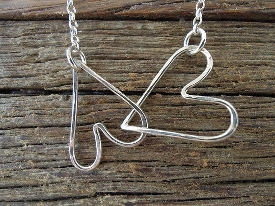 Silver Interlinking Hearts - Necklace