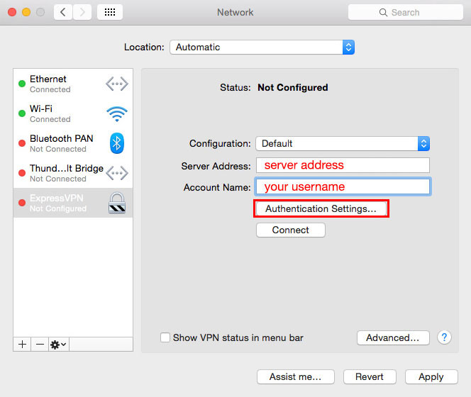 Create & connect Synology L2TP IPSEC VPN for Mac