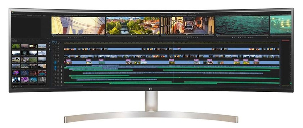 Three curved monitors for gaming and video editing