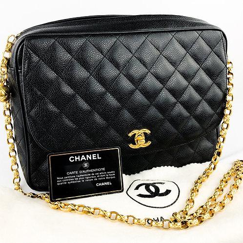 Chanel Black Caviar Quilted 24k Camera/Flap Shoulder Bag