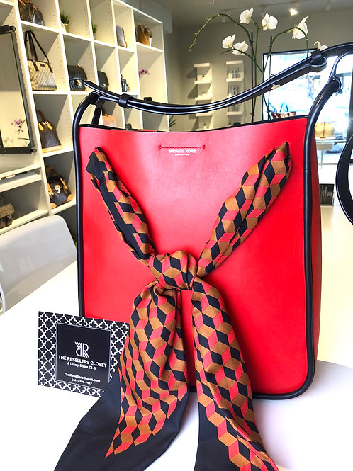 Michael Kors  Luxury Collection Tenby Scarf Red & Black Crossbody Bag