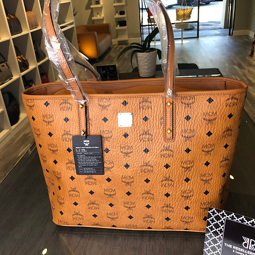 MCM Anya Camel Medium Zip Top Shopper Tote Bag