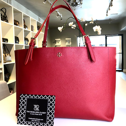 Tory Burch Red Large York Buckle Saffiano Tote Bag