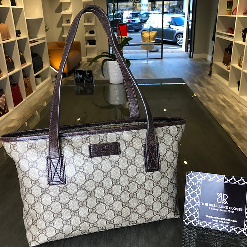 Gucci GG Beige with Brown Leather Trim Coated Canvas Small Tote Bag