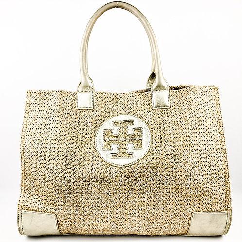 Tory Burch Ella Metallic Large Gold Straw Tote Bag