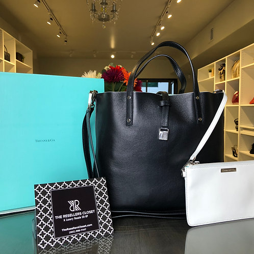 Tiffany & Co Reversible Black/Cotton White Leather Tote and Crossbody Bag (NWT)