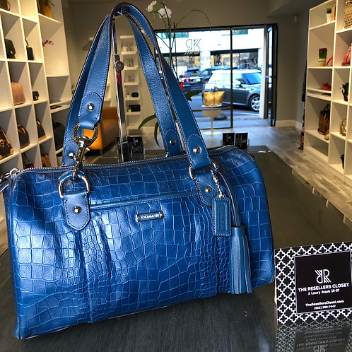 Coach Blue Avery Crocodile Embossed Leather Satchel Bag