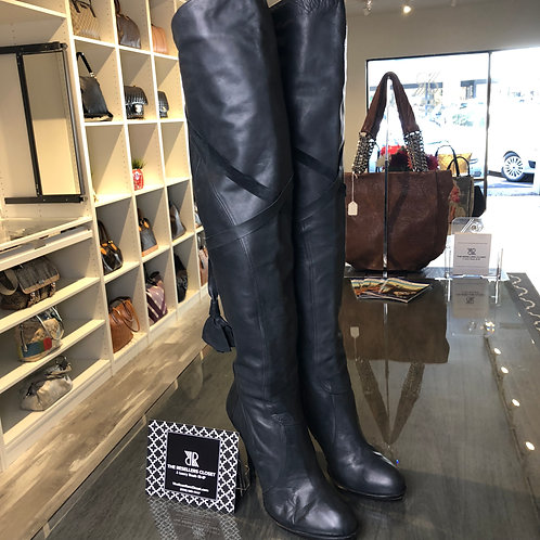 Pura Lopez Black Thigh High Smooth Leather Boots