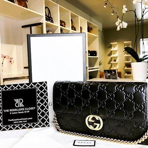 Gucci Guccissima Black Wallet-On-Chain Crossbody