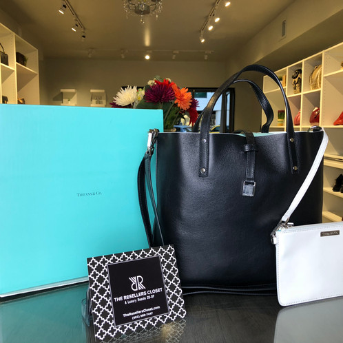 8f9d3335d2b Tiffany & Co Reversible Black/Cotton White Leather Tote and ...