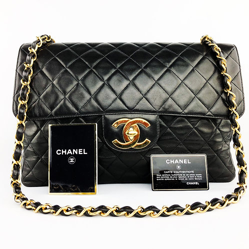Chanel Black Lambskin Quilted Maxi Shoulder Bag