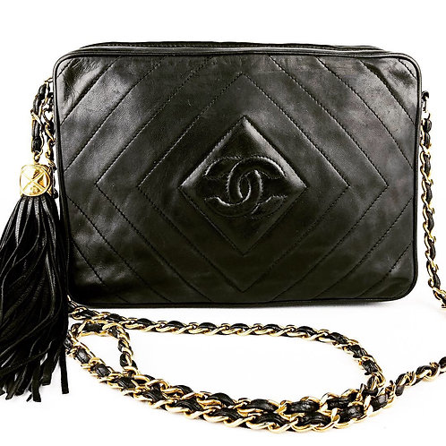 Chanel Chevron Black 2.55 Lambskin Camera Bag Crossbody