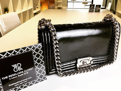 Chanel Black Smooth Glazed Medium Flap Boy Bag with Silver Hardware