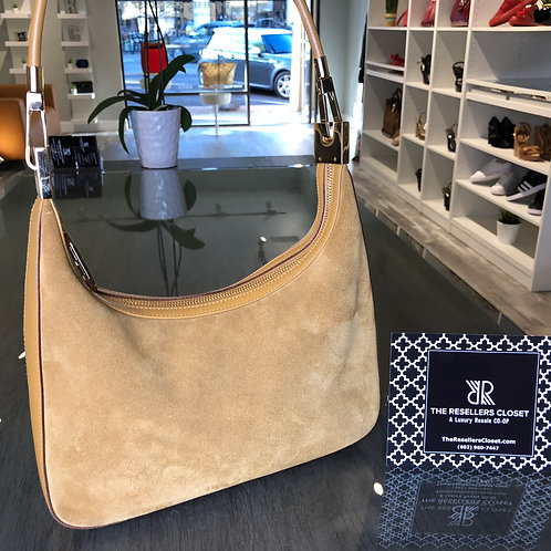 Gucci Small Camel Suede Hobo Clutch