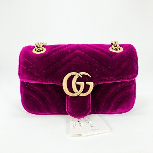Gucci Marmont Velvet Fuschia Small Crossbody