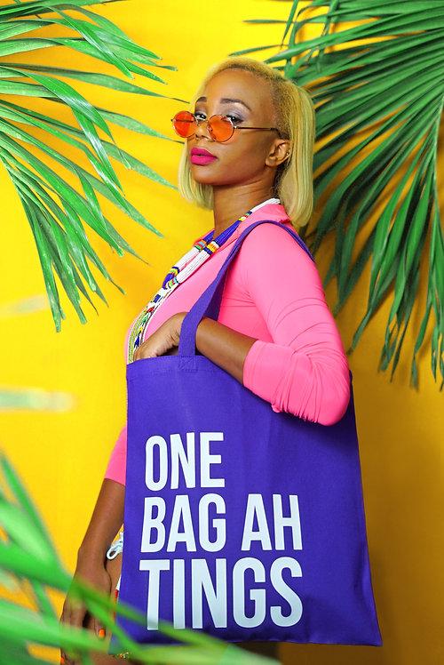 Purple & White One Bag Ah Tings Tote