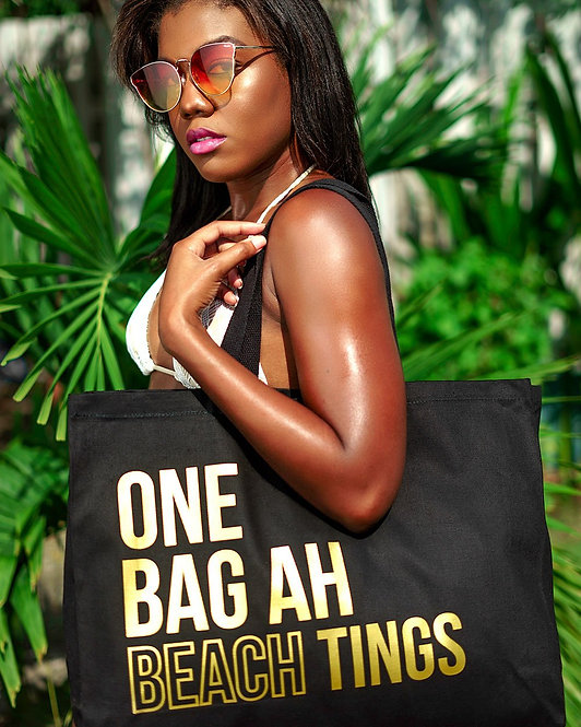 Black & Gold One Bag Ah Beach Tings Tote