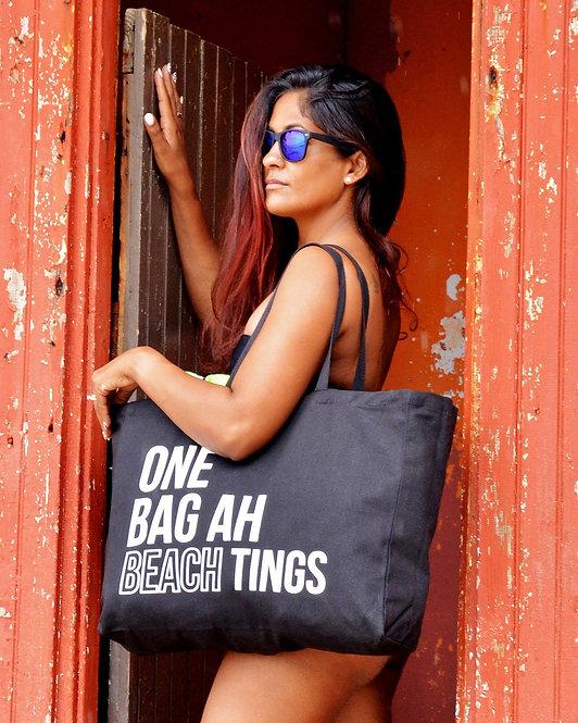 Black & White One Bag Ah Beach Tings Tote