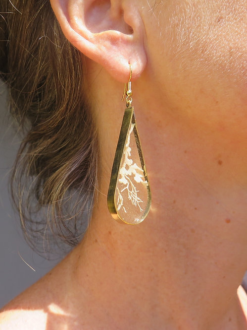Jamaican Landscape Droplet Brass Earrings