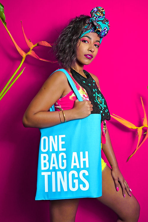 Turquoise & White One Bag Ah Tings Tote