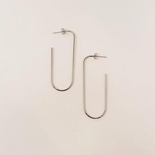 Oblong Hoops - Silver