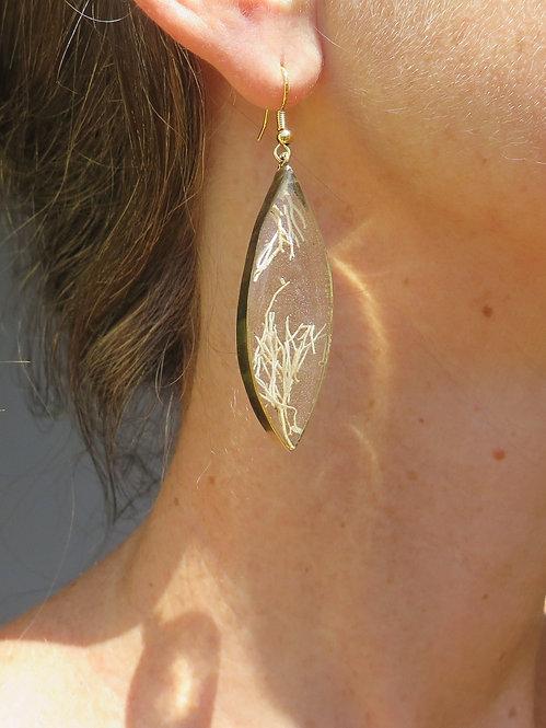 Jamaican Landscape Leaf Brass Earrings