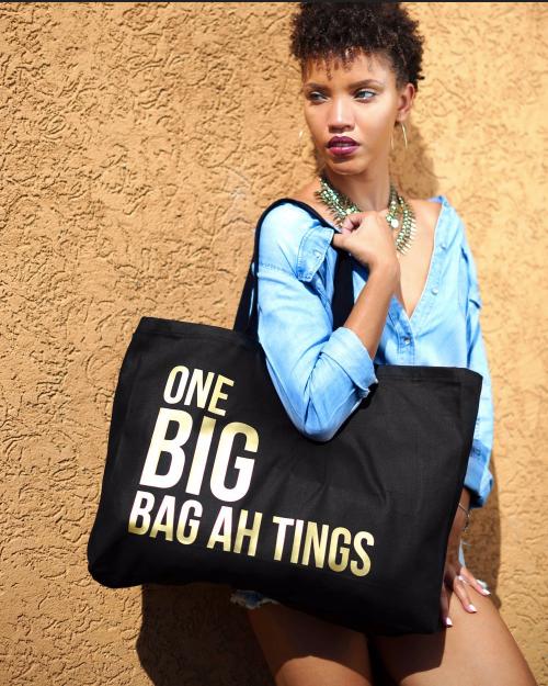Black & Solid Gold One Big Bag Ah Tings Tote