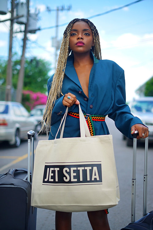 Natural & Black Jet Setta Tote
