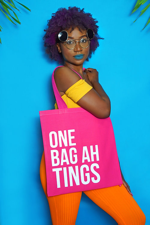 Hot Pink & White One Bag Ah Tings Tote