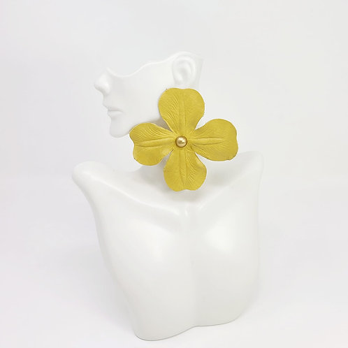 Yellow Leather Flower Earring