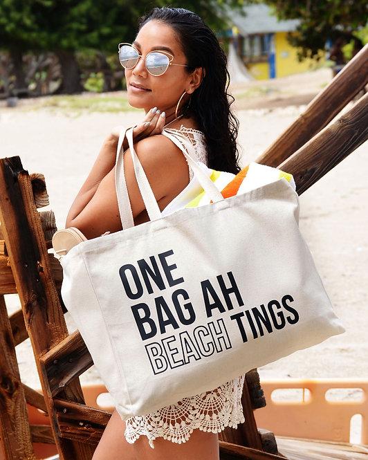 Natural & Black One Bag Ah Beach Tings Tote