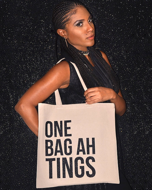 Black Glitter One Bag Ah Tings Tote